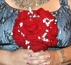 Custom wedding bouquet made with crocheted roses by The Glitzy Faery